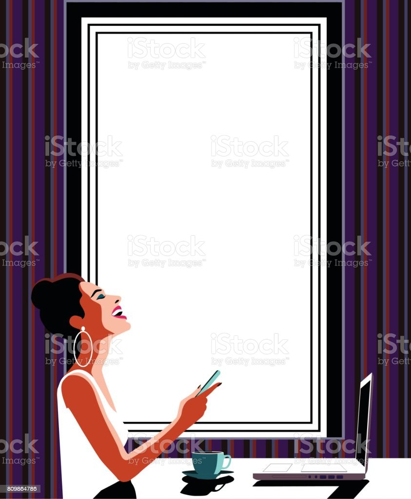 Happy Young Beautiful Woman Using Smartphone and Laptop vector art illustration