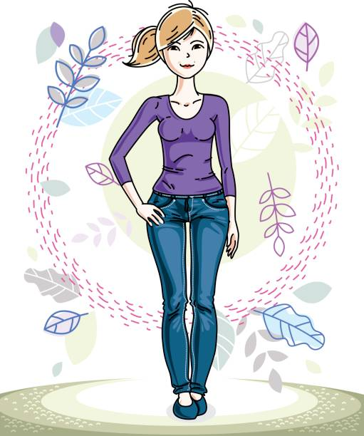 happy young blonde woman posing on background of spring landscape and wearing fashionable casual clothes. vector attractive female illustration. springtime fashion and lifestyle theme cartoon. - spring fashion stock illustrations, clip art, cartoons, & icons