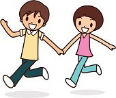 Happy young boy and girl greeting, running