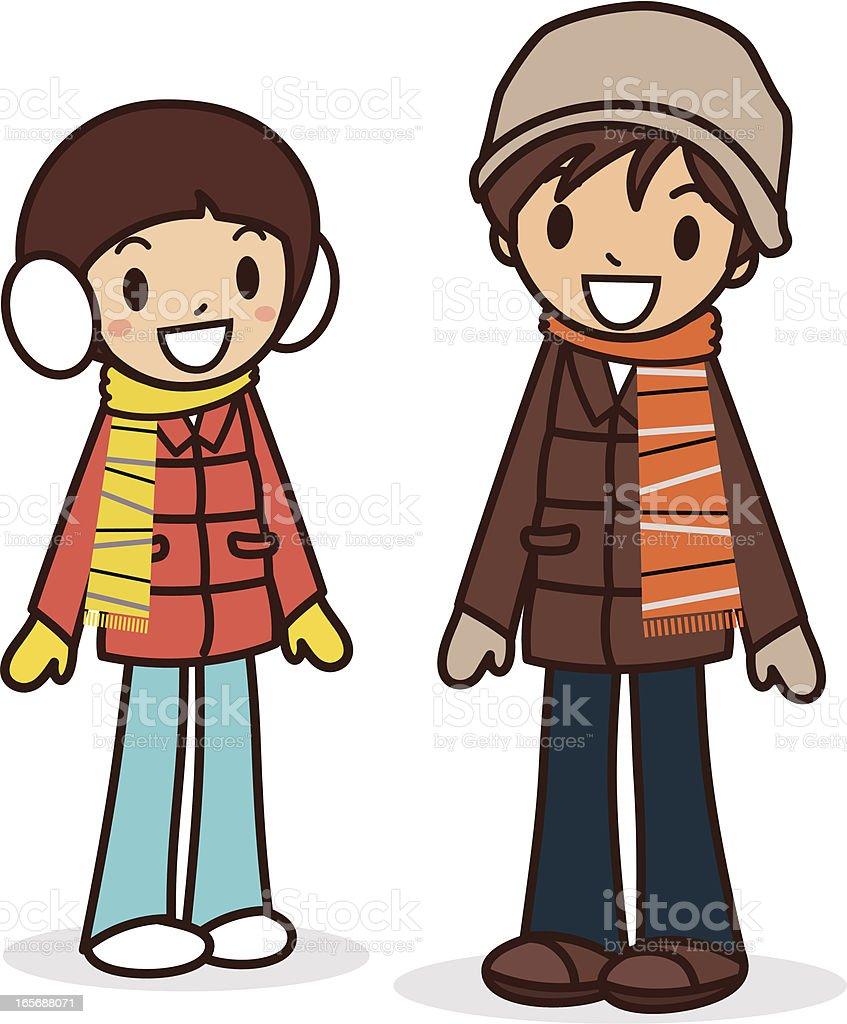 ハッピーな少年と少女の冬服 のイラスト素材 165688071 | istock