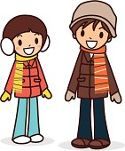 Vector illustration - Happy young boy and girl in winter clothes.