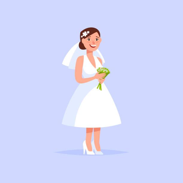 Glückliche junge Braut mit einem Blumenstrauß – Vektorgrafik