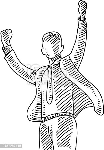 Line drawing of Happy Young Businessman. Elements are grouped.contains eps10 and high resolution jpeg.