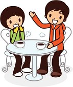 Vector illustration - Happy young couple having coffee.