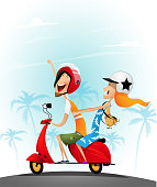 Happy young couple having fun on a scooter. Vacation travel concept. Vector illustration