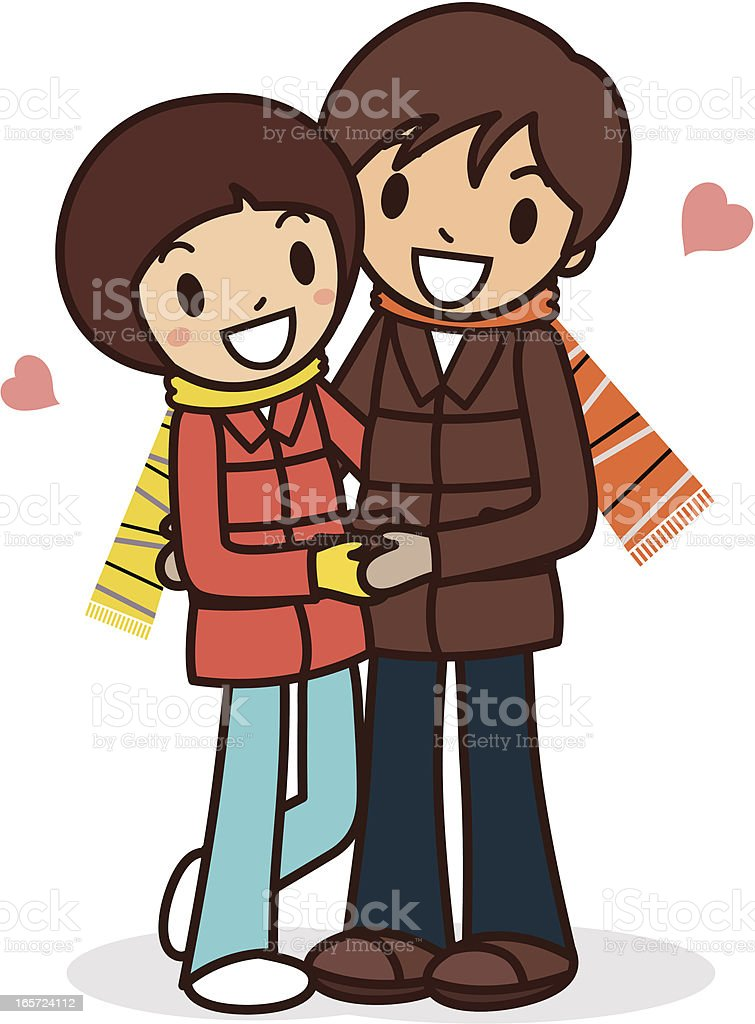Happy young couple hugging royalty-free stock vector art