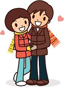 Vector illustration - Happy young couple hugging.