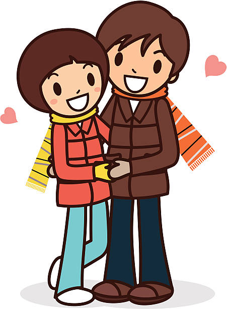 Happy young couple hugging vector art illustration