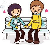Vector illustration - Happy young couple sitting on bench.