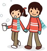 Vector illustration - Happy young couple taking a stroll.