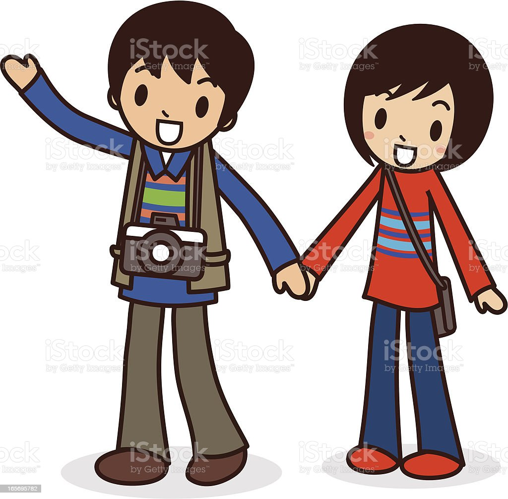 Happy young couple travel light ( Go hiking ) royalty-free stock vector art