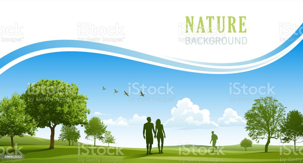 Happy young couple walking in the spring park vector art illustration