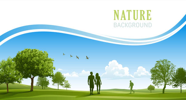 happy young couple walking in the spring park - outdoors stock illustrations