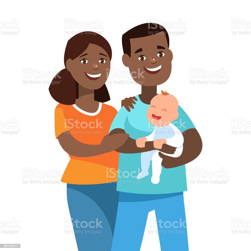 Heureux jeune couple avec enfant adopté - Illustration vectorielle