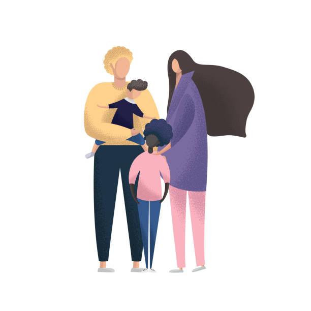 stockillustraties, clipart, cartoons en iconen met gelukkig jong stel met pleegkinderen. multiraciale familie. aanneming vector illustratie - adoptie