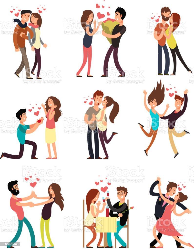 Vetores De Casais Jovens Felizes No Amor Personagens De Desenhos