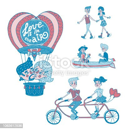 Collection of hand drawn illustrations depicted happy young couples in outdoor activities. Isolated vector designs for Valentine's day in red and blue colors