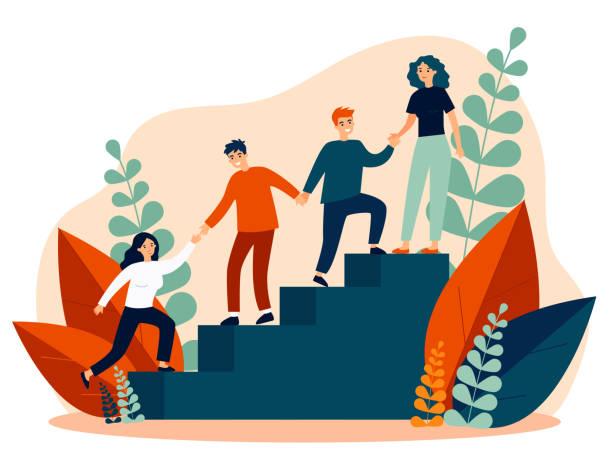 glückliche junge mitarbeiter unterstützen und helfen sich gegenseitig - treppe stock-grafiken, -clipart, -cartoons und -symbole