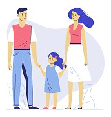Family couple father and mother with child standing together and holding hands. Happiness and love concept.