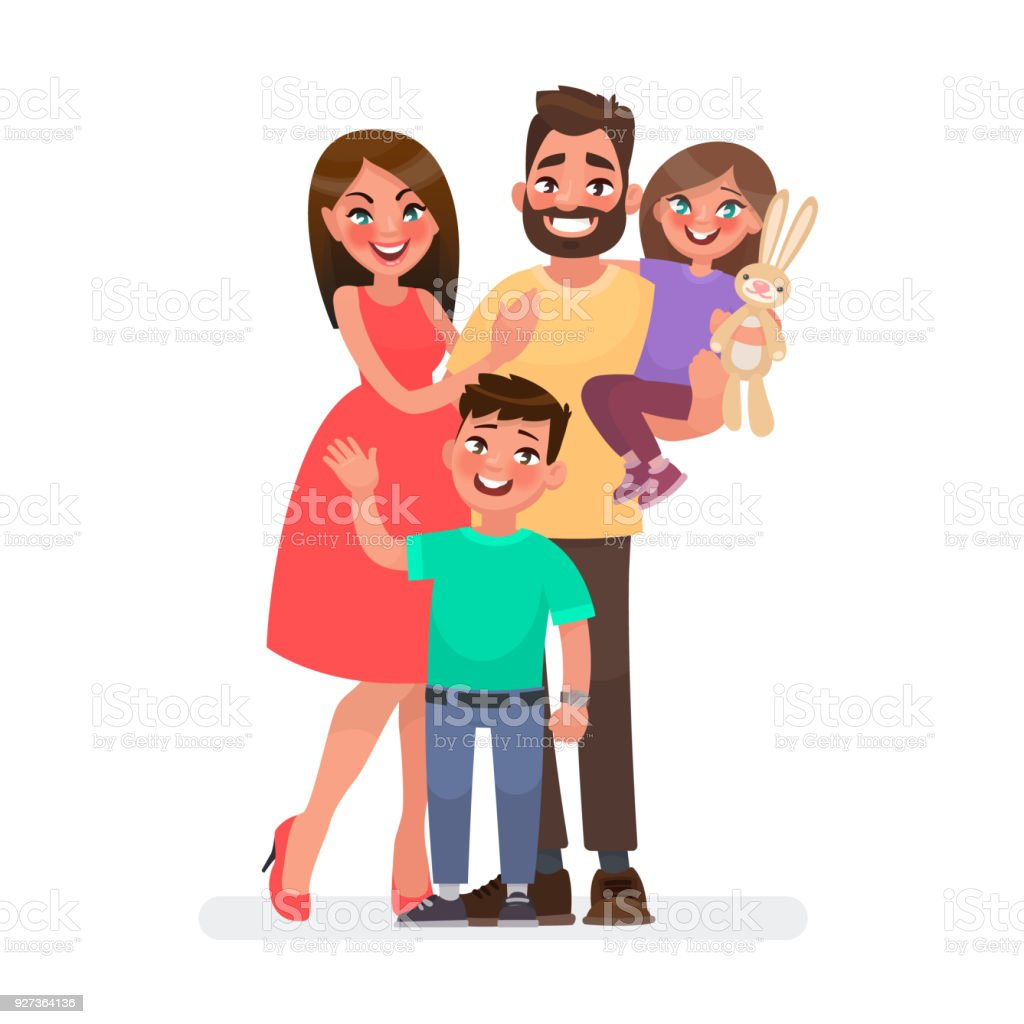 Happy young family. Dad, mom, son and daughter together. Vector illustration - Royalty-free Adult stock vector