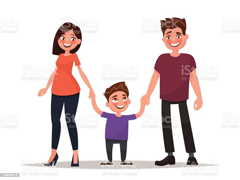 Happy young family. Father, mother and son hold hands. Lizenzfreies happy young family father mother and son hold hands stock vektor art und mehr bilder von ehefrau