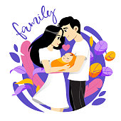 Happy Young Family Picture. Male, Female And Newborn Together On White Background. Smiling Mother And Father Hold Their Baby. Maternity And Paternity Concept. Vector Illustration In Flat Cartoon Style.