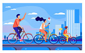 Happy young family riding on bikes at park flat vector illustration. Cycling along road near the water with city on background. Summer activity and healthy lifestyle concept.