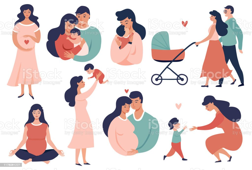 Happy Young Family set. Happy Young Family set. Pregnancy and maternity  concept illustration. Smiling Parent, Mother hold little baby. Flat Cartoon Vector Illustration Adult stock vector