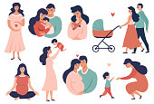 Happy Young Family set. Pregnancy and maternity  concept illustration. Smiling Parent, Mother hold little baby. Flat Cartoon Vector Illustration