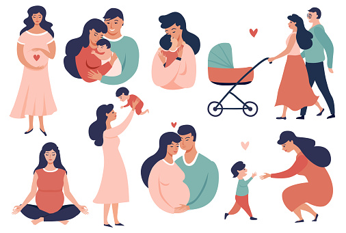 Happy Young Family Set Stock Illustration - Download Image Now