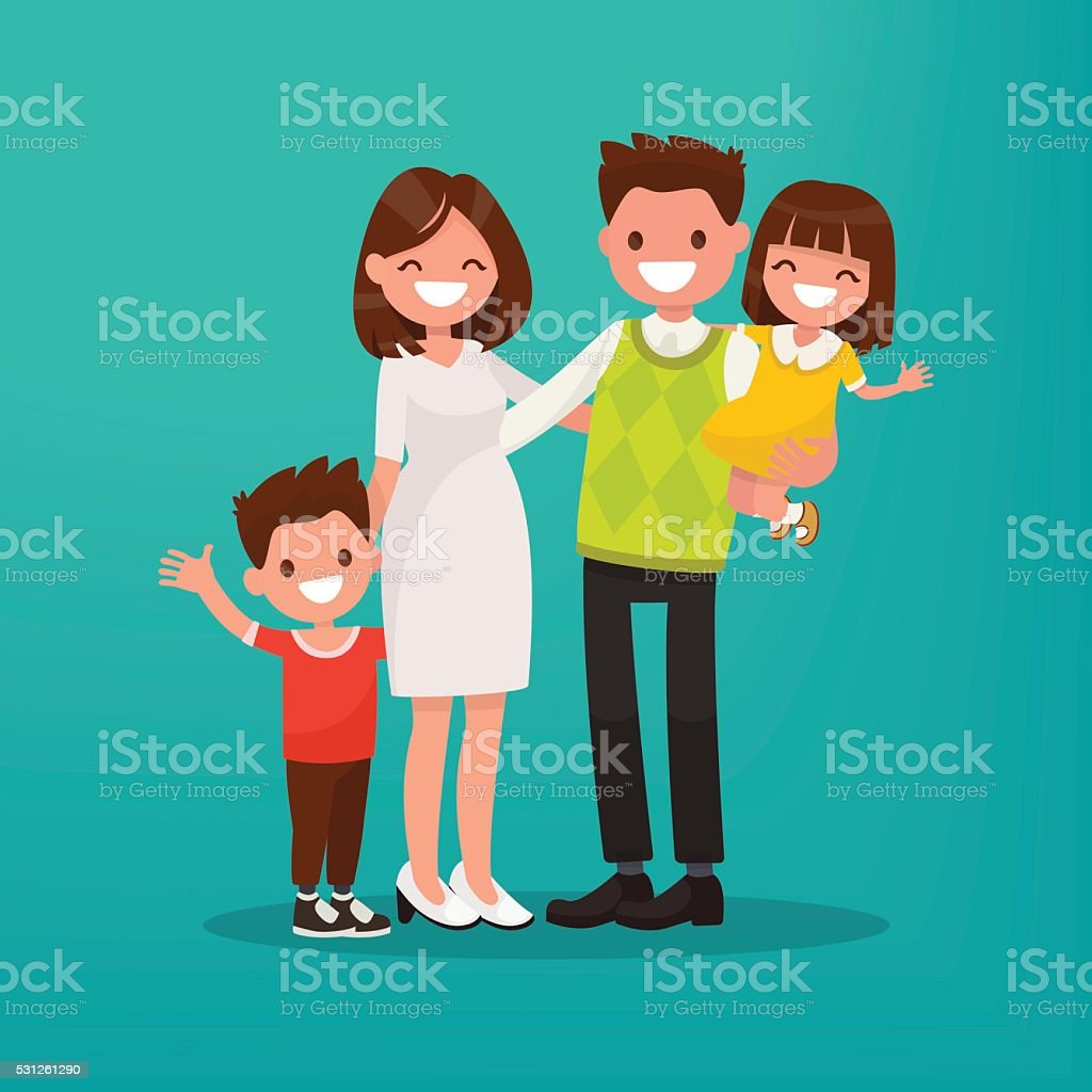 Happy young family. Vector illustration vector art illustration