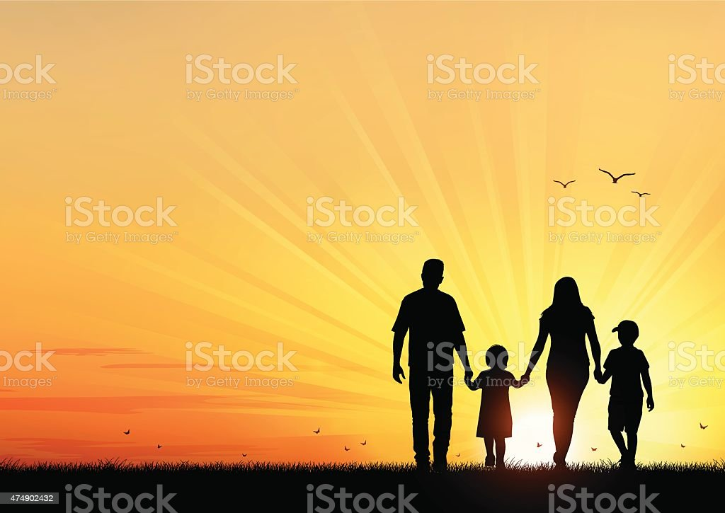 Happy Young Family walking at sunset vector art illustration