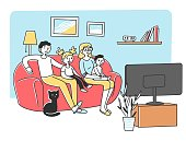 Happy young family watching TV at sofa flat vector illustration. Mother, father, and kids relaxing at home together. Cartoon people in living room watching movie. Entertainment and lifestyle concept.