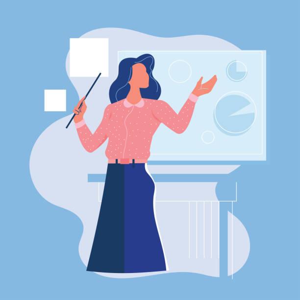 ilustrações, clipart, desenhos animados e ícones de apresentação fêmea nova feliz da mulher de negócio ou do professor na placa branca - professor