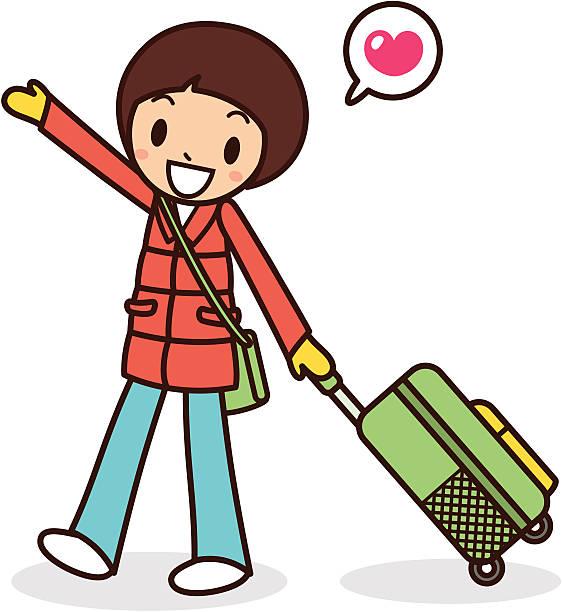 glückliche junge mädchen auf reisen - parkas stock-grafiken, -clipart, -cartoons und -symbole