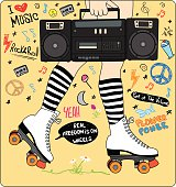 girl skating with a radio and striped socks surrounded by handwritten music and hippie symbols