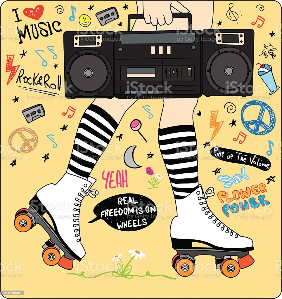 happy young girl legs with roller skates and stereo and music vector art illustration