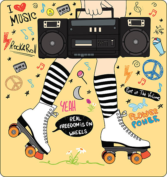 glückliches junges mädchen beine mit deinen inlineskates und stereoanlage und musik - rollschuh stock-grafiken, -clipart, -cartoons und -symbole