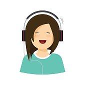 Happy young girl listening music in headphones vector illustration