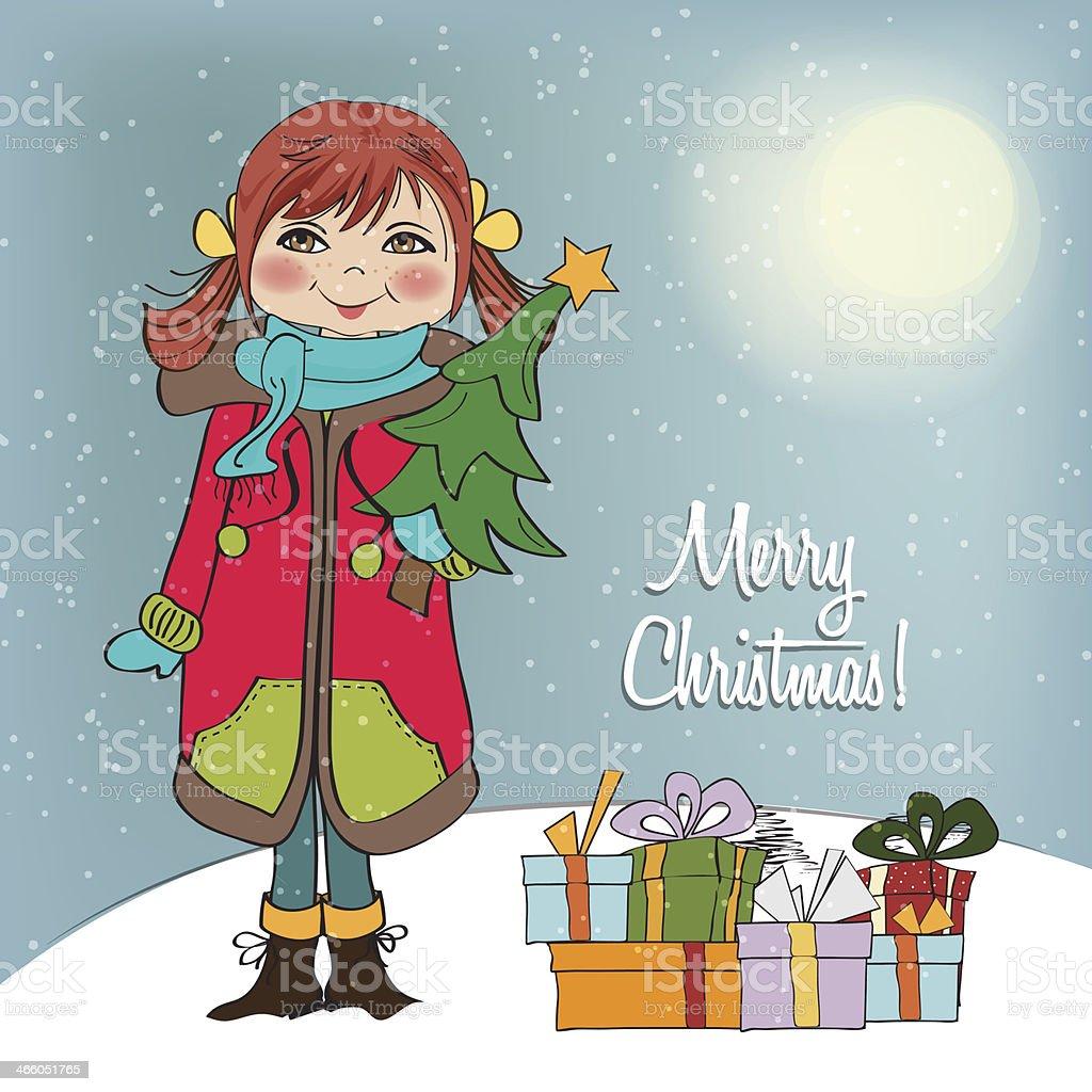 Glückliches Junges Mädchen Mit Weihnachtsbaum In Seine Arme Stock ...