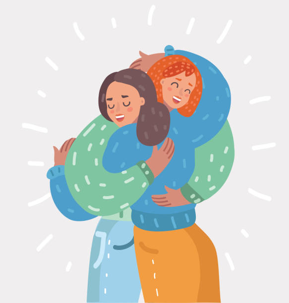 Happy young girls hug each other. Woman friendship Two happy young girls hug each other. Females embracing, laughing and excited. Woman friendship. Vector cartoon illustration in modern concept hug stock illustrations