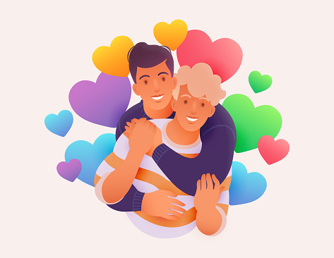 Happy young LGBTQ couple vector illustration. Homosexual men hugging with rainbow colored hearts