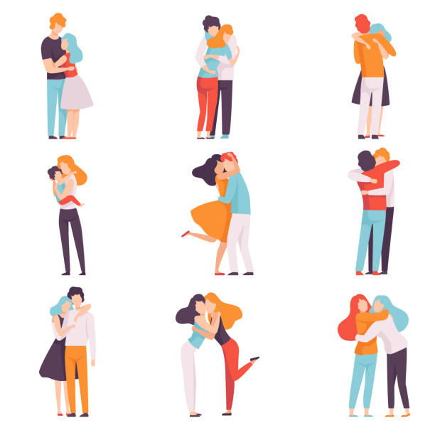 Happy Young Male and Female Embracing Each Other Set, People Celebrating Event, Couples in Love, Best Friends Vector Illustration Happy Young Male and Female Embracing Each Other Set, People Celebrating Event, Couples in Love, Best Friends Vector Illustration on White Background. gay person stock illustrations