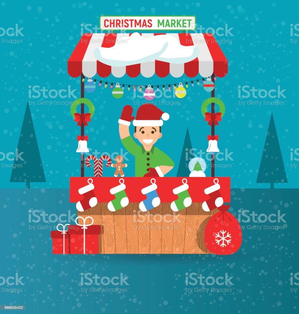 Jovem feliz e Natal mercado tenda com lembranças em moderno estilo simples. Guirlandas. Ilustração em vetor. Cartão de feliz Natal e feliz ano novo na feira. - ilustração de arte em vetor