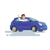 happy young man driver sitting rides in his blue car. Design concept of buy a new car