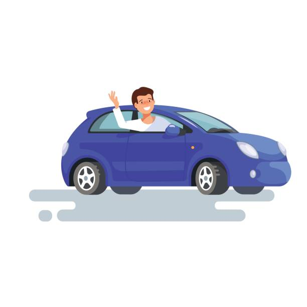 happy young man driver sitting rides in his blue car. Design concept of buy a new car vector art illustration