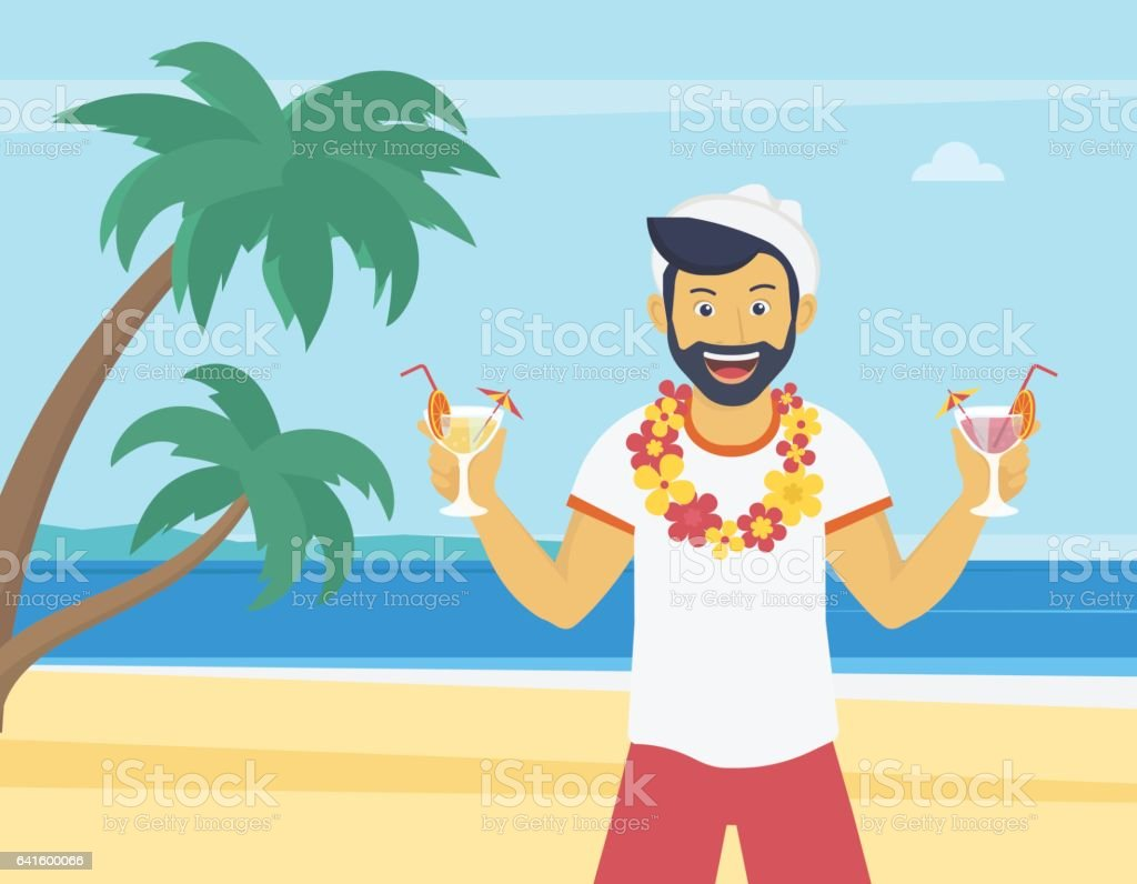 Happy young man enjoying and drinking cocktails on the beach vector art illustration