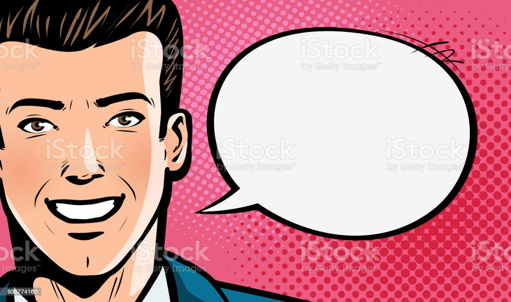 Happy young man in business suit or businessman says. Pop art retro comic style. Cartoon vector illustration royalty-free happy young man in business suit or businessman says pop art retro comic style cartoon vector illustration stock illustration - download image now