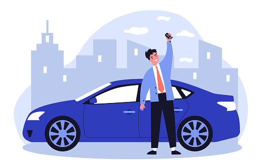 Happy young man leasing car flat vector illustration