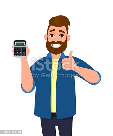 Happy young man showing or holding a digital calculator device in hand and gesturing, making thumbs up sign. Good, like, positive, agree, modern technology lifestyle, gadget concept in cartoon style.